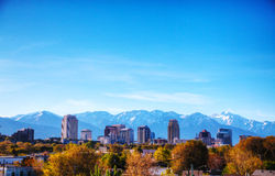 Salt Lake City overview. On a sunny day Royalty Free Stock Photo