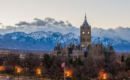 Salt Lake City panorama. A panoramic view of Salt Lake City and the majestic Wasatch mountain range in the background stock photo