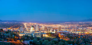 Salt Lake City panoramic overview. In the night Royalty Free Stock Image