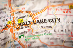 Salt Lake City on a Road Map Stock Images