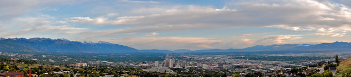 Salt Lake City Skyline. A panoramic view of Salt Lake City, Utah, and surrounding mountains Royalty Free Stock Images