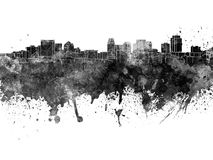 Salt Lake City skyline in black watercolor Royalty Free Stock Photo