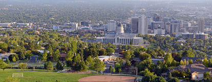 Salt Lake City skyline with Capitol building, Utah Stock Photo