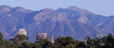 Salt Lake City skyline mountains Royalty Free Stock Photo