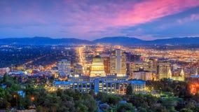 Free Salt Lake City Skyline Utah At Night Stock Photography - 124447812