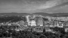 Salt Lake City skyline Utah at night royalty free stock photography