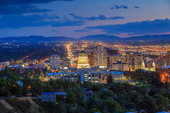 Salt Lake City skyline Utah. At night Royalty Free Stock Images