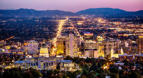 Salt Lake City skyline Utah at night. View of the downtown Salt Lake City skyline at night, Utah, USA stock photos