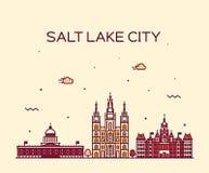Salt Lake city skyline Utah vector linear style. Royalty Free Stock Photo