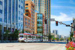 Salt Lake City street with a tram Stock Photo