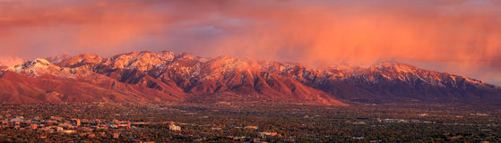 Salt Lake City Sunset Panorama. Spring sunset above Salt Lake City, Utah,  USA Stock Image