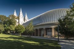 Salt Lake City Tabernacle and Temple Temple Square Salt Lake City. Salt Lake Temple is the centerpiece of the 10-acre 4.0 ha Temple Square in Salt Lake City stock photos