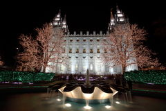 Salt Lake City Temple with Christmas Lights Royalty Free Stock Photo