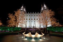 Salt Lake City Temple with Christmas Lights Royalty Free Stock Photos