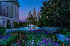 Salt Lake City Temple and fountain at dawn stock image