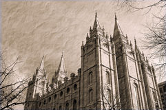 Salt lake city Temple in sepia Royalty Free Stock Photos