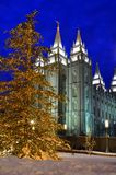Salt Lake City Temple Square Christmas Lights. On Trees and Steeples stock photos