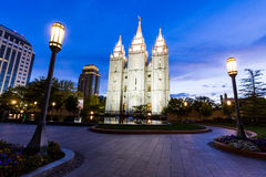 SALT LAKE CITY, UTAH. AUGUST 30: Exterior views of the The Church of Jesus Christ of Latter-day Saints by sunset on August 30, 2015. Iis a Christian Stock Images