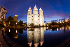 SALT LAKE CITY, UTAH. AUGUST 30: Exterior views of the The Church of Jesus Christ of Latter-day Saints by sunset on August 30, 2015. Iis a Christian Stock Photography