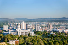 Salt Lake City Utah Downtown Skyline. Skyline of Salt Lake City Utah with the Utah State Capitol Building and the historic Mormon Temple Royalty Free Stock Photos