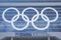 Salt Lake City, Utah, 2002 Jeux Olympiques d'hiver, anneaux olympiques, centre de delta Photo libre de droits