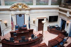 State of Utah House of Representatives. Salt Lake City, Utah: July 17, 2017: State of Utah House of Representatives chamber at the state Capitol. The Utah Stock Photography