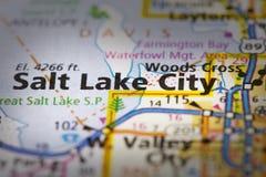 Salt Lake City, Utah na mapie Zdjęcia Royalty Free