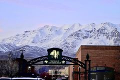 SALT LAKE CITY, UTAH/UNITED STATES - FEBRUARY 13, 2017: The Shops At Riverwoods in Provo, Utah at the base of the Wasatch Mountain. Salt Lake City, Provo Stock Photography