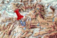 Salt Lake City in Utah, USA. Map with pin point of Salt Lake City in Utah, USA stock photos