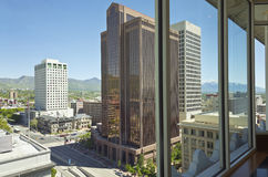 Salt Lake city Utah through a window. Salt Lake city Utah downtown view through a window Stock Photography