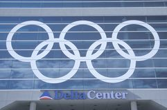 Salt Lake City, Utah, 2002 Winter Olympics, Olympic Rings, Delta Center Royalty Free Stock Photo