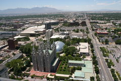 Salt Lake City. A view of Temple Square and surrounding buildings in Salt Lake City, Utah, USA, from above. Mountains are in the distant background Stock Image