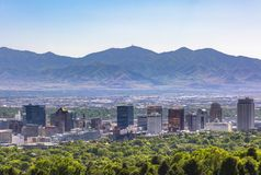 Salt Lake City Views with foreground trees royalty free stock photo