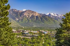 Salt Lake City Views with framed city mountains. Salt Lake City Views with buildings and roads stock photography
