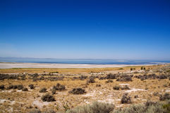 Salt Lake, de blauwe hemel en de Maan stock foto