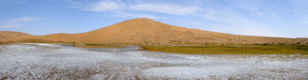 Salt lake in desert Royalty Free Stock Photos