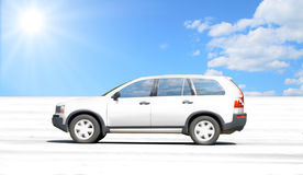 Salt lake desert car stock photo