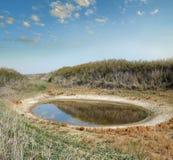 Salt lake in the desert steppe Stock Photo