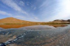 Salt lake in deserts Royalty Free Stock Image