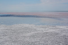 Salt lake Elton. salty water at daytime Stock Photography