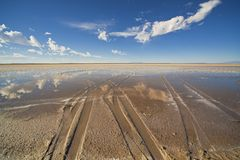 Salt lake flats, desert  sky Stock Photo