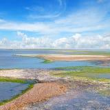 Salt lake with healing mud Royalty Free Stock Images