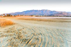 The landscape of the salt lake on Kos island. stock images