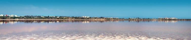 Salt lake, natural phenomen near Larnaka royalty free stock photo