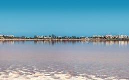 Salt lake, natural phenomen near Larnaka stock image