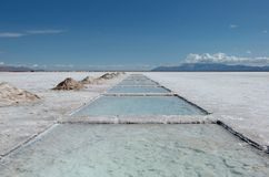 Salt lake near Salta, Argentina. Picture showing a salt lake landscape, called salinas grande, near Argentina. This is where salt is exploited stock photos