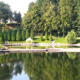 Salt lake in Ocna Sibiului, near Sibiu Hermanstadt. Ocna Sibiului, German: Salzburg, is a town in the centre of Sibiu County, in southern Transylvania, central Stock Images