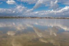 Salt Lake perto de Larnaca, Chipre - lugar do wintering para flamingos, a reserva natural e a atração turística cor-de-rosa imagens de stock royalty free