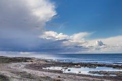 Salt Lake perto de Larnaca, Chipre - lugar do wintering para flamingos, a reserva natural e a atração turística cor-de-rosa foto de stock