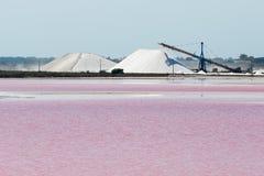 Salt Lake. Pink Salt Lake in Aigues-Mortes, France Stock Photo